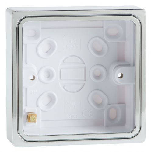 Varilight YBS.C Surface Mounted Pattress Box Single 1 Gang Chrome Effect